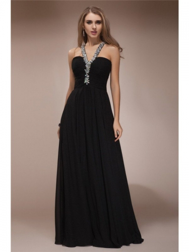 Sheath/Column Halter Sleeveless Long Beading Chiffon Dresses