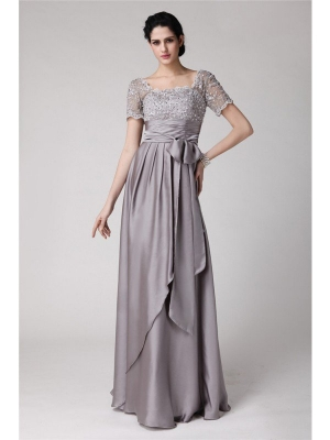 Sheath/Column Square Beading Applique Elastic Woven Satin Mother of the Bride Dresses