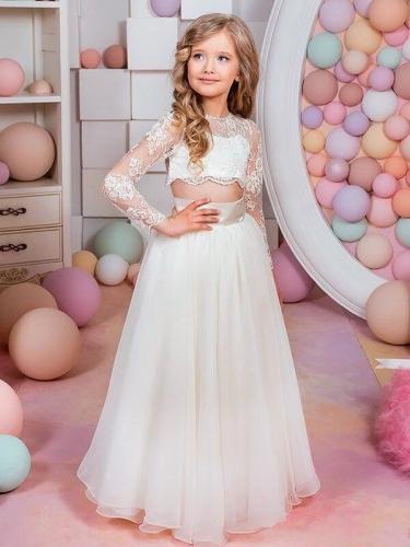 A-Line/Princess Long Sleeves Jewel Lace Chiffon Floor-Length Flower Girl Dresses