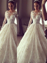 Ball Gown Long Sleeves Scoop Court Train Lace Wedding Dresses...