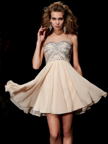 A-Line/Princess Sleeveless Scoop Beading Short Chiffon Homecoming Dresses