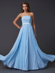 A-Line/Princess Strapless Sleeveless Ruched Long Chiffon Dresses...