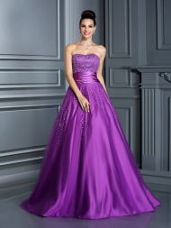 Ball Gown Sweetheart Beading Sleeveless Long Satin Quinceanera Dresses