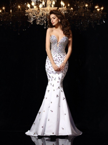 Trumpet/Mermaid Sweetheart Rhinestone Sleeveless Long Satin Dresses