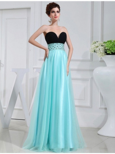 A-Line/Princess Beading Sweetheart Sleeveless Elastic Woven Satin Dresses
