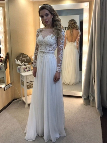 A-Line/Princess Bateau Floor-Length Long Sleeves Lace Chiffon Wedding Dresses