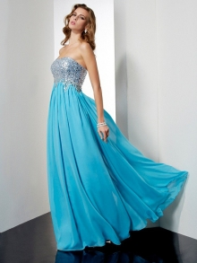 A-Line/Princess Strapless Sleeveless Long Beading Chiffon Dresses