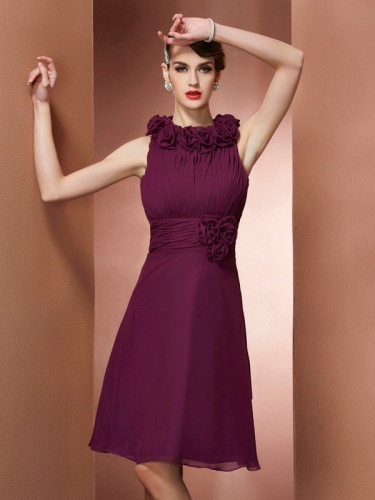 A-Line/Princess High Neck Sleeveless Hand-Made Flower Short Chiffon Bridesmaid Dresses