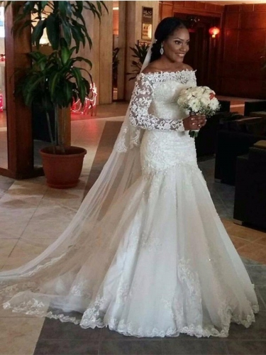 Trumpet/Mermaid Off-the-Shoulder Long Sleeves Lace Floor-Length Tulle Wedding Dresses