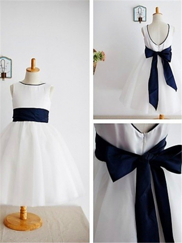 A-line/Princess Scoop Bowknot Sleeveless Ankle-Length Tulle Flower Girl Dresses