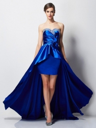 A-Line/Princess Sweetheart Sleeveless Beading High Low Elastic Woven Satin Dresses