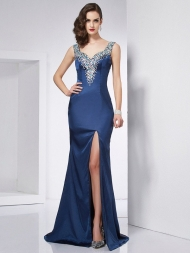 Trumpet/Mermaid Straps Sleeveless Beading Long Elastic Woven Satin Dresses