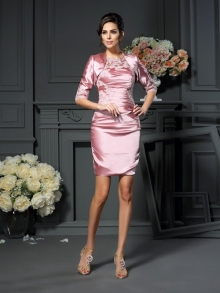 Sheath/Column Scoop Applique Sleeveless Short Elastic Woven Satin Mother of the Bride Dresses