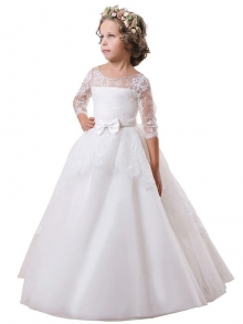 Ball Gown Jewel Long Sleeves Lace Floor-Length Satin Flower Girl Dresses