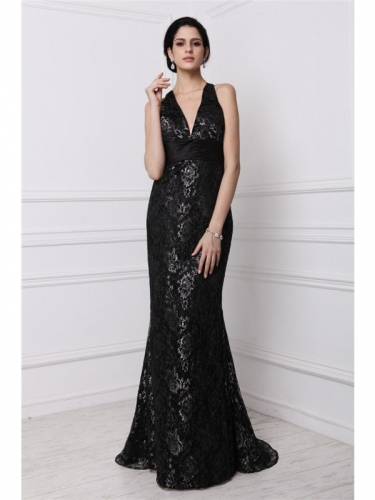 Sheath/Column V-neck Sleeveless Long Lace Dresses