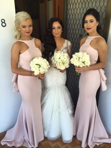 Trumpet/Mermaid Halter Sleeveless Sweep/Brush Train Satin Bridesmaid Dresses
