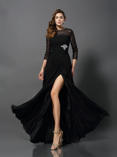 A-Line/Princess Bateau 3/4 Sleeves Long Lace Dresses