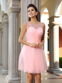 A-Line/Princess Scoop Beading Sleeveless Short Satin Cocktail Dresses