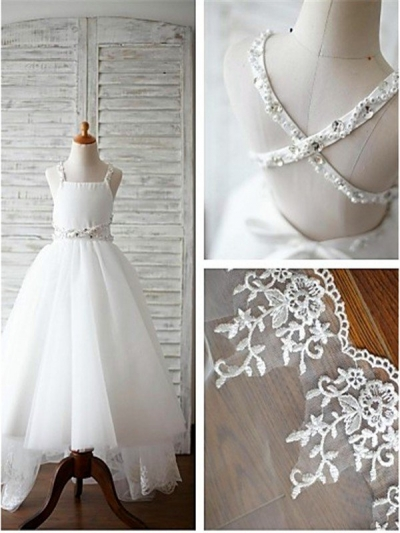 A-line/Princess Spaghetti Straps Sleeveless Beading Sweep/Brush Train Organza Flower Girl Dresses [EL1605517]