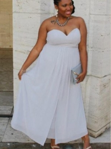 A-Line/Princess Sweetheart Sleeveless Ruched Ankle-Length Chiffon Plus Size Dresses