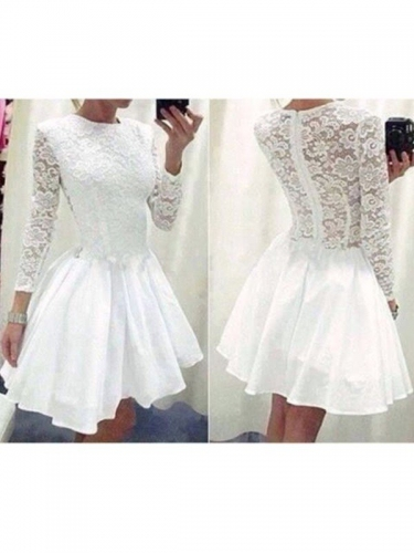 A-Line/Princess Long Sleeves Scoop Lace Chiffon Short/Mini Dresses