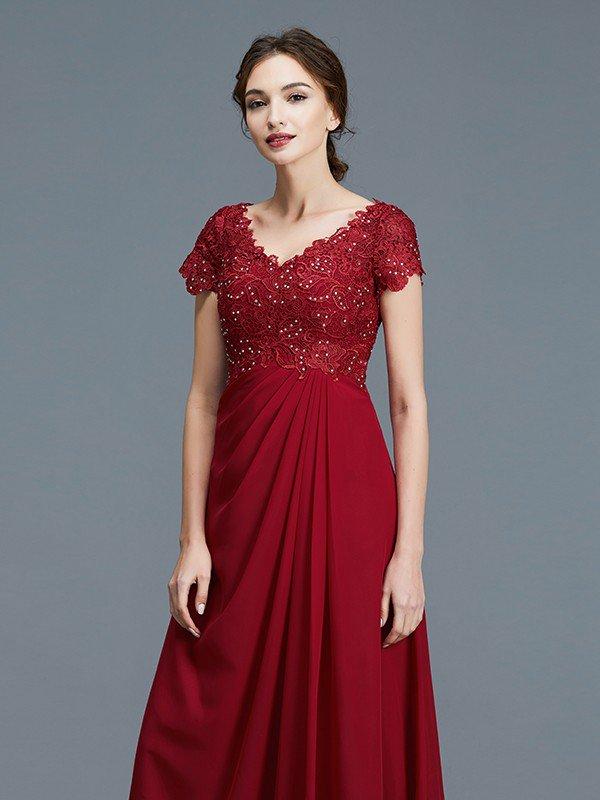 5e042650067 A-Line Princess V-neck Short Sleeves Ruffles Chiffon Floor-Length Mother of  the Bride Dresses