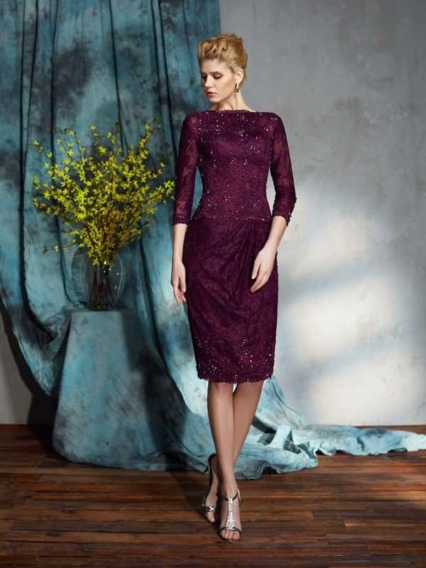25f7a60564d327 Sheath Column Bateau Lace 3 4 Sleeves Short Lace Mother of the Bride  Dresses