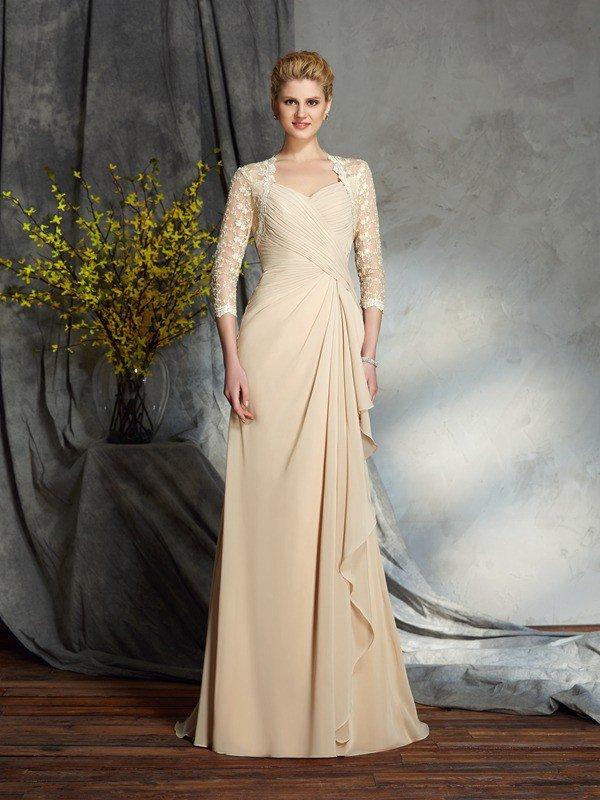 A,Line/Princess Sweetheart Lace 3/4 Sleeves Long Chiffon