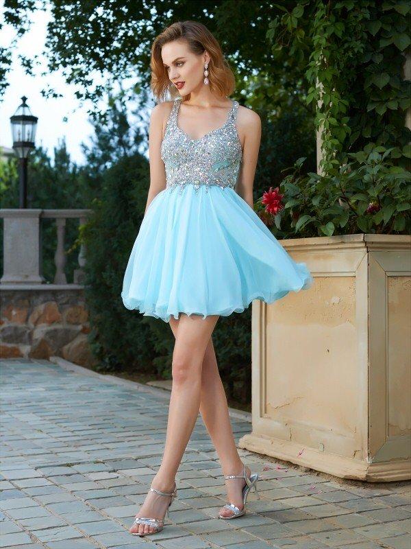 63b1b916c753d3 A-Line Princess Sleeveless Rhinestone Straps Short Mini Chiffon Dresses