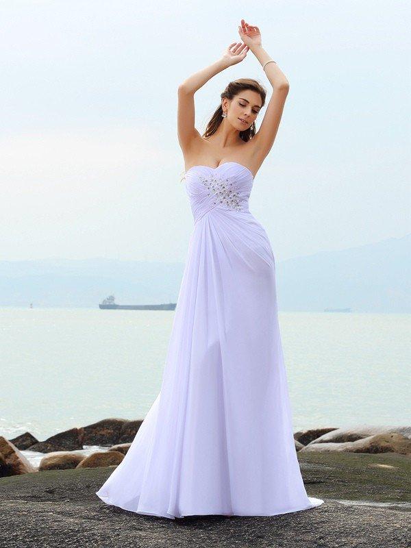 Sheath Column Sweetheart Beading Sleeveless Long Chiffon Beach Wedding  Dresses 458a25320d