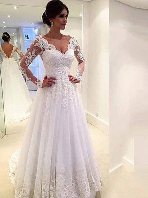 Ball Gown V Neck Long Sleeves Lace